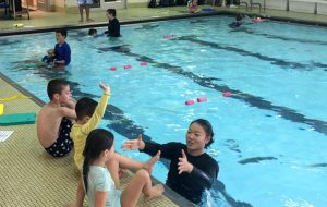 Teaching kids to swim at Excel Aquatics